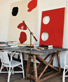 what i am going to do in my studio, old sawhorses, an old paned glass door and a glass  top