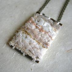 Wearable Textile Art Necklace Mini Weave by AVisualSensibility, $55.00