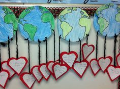 Earth Day Craftivity. Did this with 5th Gr., researched various countries problems; pollution, endangered species, etc. wrote on hearts & added a star in the middle explaining how they could be a good steward & their plan of action.