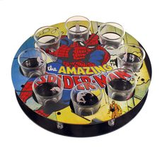Marvel Comics: Spider-Man Shot Glass Tray Amaze your friends and swing into a party with this Spider-Man Shot Glass Tray! Features 8 shot glasses on an attractive matching tray, both adorned with a webslinging Silver Age Spider-Man!