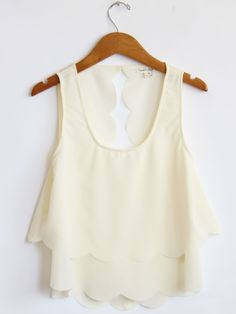 Ivory Scallop Trim Tank...with maybe short high waist shorts or coral skinnies...