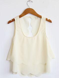 model, cream tank, crop tops, fashion styles, cut shirts, bikini, scallop, wardrobe staples, summer tops