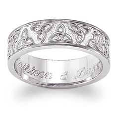 Sterling Silver Celtic Trinity Knot Engraved Wedding Band