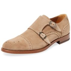 Antonio Maurizi Men's Cap-Toe Double Monkstrap - Light/Pastel Brown ($185) ❤ liked on Polyvore featuring men's fashion, men's shoes, men's dress shoes, mens brown cap toe dress shoes, mens brown leather dress shoes, mens cap toe shoes, mens brown dress shoes and mens leather shoes