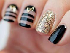 Gel nails black gold glitter rhinestone negative space