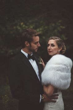 Glamorous newlyweds from this winter wedding in Upstate New York | Image by Couple of Dudes