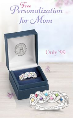 Capture the eternal bond of love between a mother and her children! This personalized birthstone ring lets you create a meaningful tribute to your mother by selecting up to 8 birthstones and providing up to 8 names to be engraved. Includes a gift box to make it a wonderful Mother's Day gift.