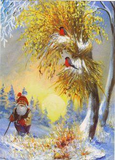 JOHNNIE JACOBSEN Christmas Clipart, Vintage Christmas Cards, Christmas Elf, Baumgarten, Paintings I Love, Fairy Land, Scandinavian Christmas, Yule, Watercolor Illustration