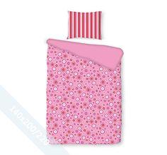 Romanette dekbedovertrek 'Sterre' fuchsia. Een éénpersoons (140x200/220 cm) dekbedovertrek van 100% katoen met als basis een mooie roze achtergrond en daarop een mooi patroon van bloemetjes in verschillende kleuren.
