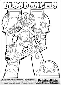 Coloring page showing a high detail Blood Angels Space Marine from Warhammer 40000 (Warhammer 40k) drawn standing from the front. The Blood Angels Space Marine colouring sheet was intended for kids to print out for coloring
