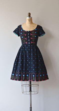 Wiesn dirndl dress vintage 1960s linen dress 60s by DearGolden