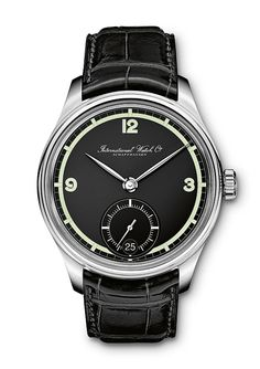 @iwcwatches Portuguieser Hand-Wound 75th Anniversary - The stainless steel version (Reference IW510205) has light green dial elements that contrast elegantly with the matte black dial; this watch is available in a limited edition of 750 pieces, priced at $11,000.  #iwcwatches #watchtime #luxurywatch