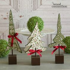 Wooden Christmas Tree Trio Decoration