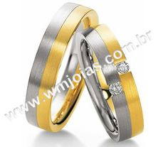 Alianças ouro branco e amarelo 18k