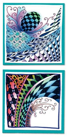 Watercolour  Zentangle, these are examples from Marie Browning CZT book Time to Tangle available at http://www.softexpressions.com/software/books/4L3032.php