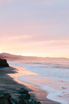 Sunrise at Surfer's Beach in Half Moon Bay, California.