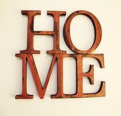 Distressed wood letters - HOME - Custom home kitchen decor - Vintage Alphabet - Rustic country old wooden words sign wall art decoration on Etsy, $35.00