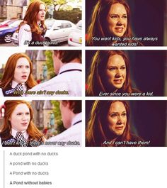 Doctor Who: Amelia Pond. A duck pond without ducks - foreshadowing. Doctor Who, 11th Doctor, Twelfth Doctor, Geronimo, Tardis, Sherlock, Space Man, Fandoms, Amy Pond