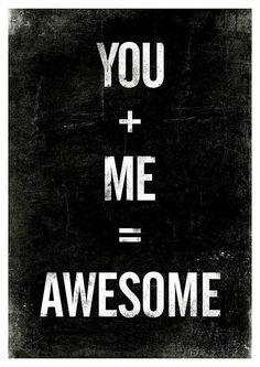 Zwart/wit poster van Jan Skácelík met de tekst: You + me = awesome
