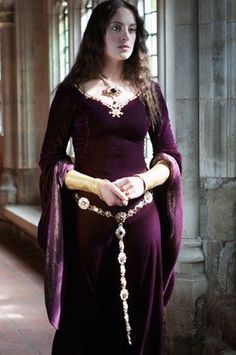 Merlot medieval gown with gold trim and belt, simple pattern. my favourite belt