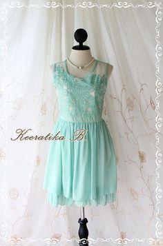 Baroque Pastel Floral Dress - Pastel Floral Pattern Organza Top Mint Green Color Party Bridesmaid Graduation Dress via Etsy