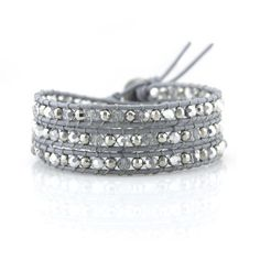 Silver Beads and Crystals on Gray Leather - Victoria Emerson Wrap Bracelet
