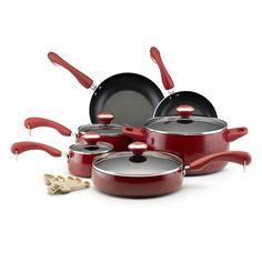Paula Deen Collection Porcelain Nonstick 15-piece Set, Red Speckle - Overstock™ Shopping - Great Deals on Paula Deen Cookware Sets
