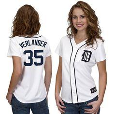 Majestic Justin Verlander Detroit Tigers Womens Replica Jersey - White