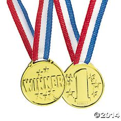 Award winner of any competition from sports to art and other activities with these small gold plastic Winner medals. Each medal hangs from a red, white, and blue ribbon. Includes 12 mini medals.
