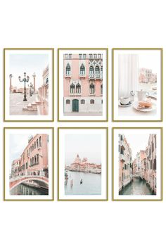 Venice Print Set - Bellissima Gallery Wall Set of 6 527 Photo. Travel Wall Art, Unique Wall Art, Pastel Art, Wall Art Prints, Gallery Wall, Gsm Paper, Satin Finish, Aesthetic Pictures, Office Decor