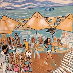 the Deck of Laguna by Robin Hiers Acrylic ~ 36 x 36