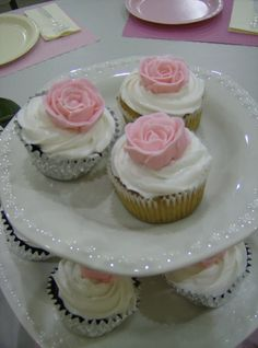 Wedding Shower Rose Cupcakes