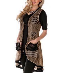 Beige Contrast Pocket Crochet Vest | something special every day