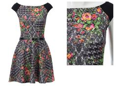 New Womens Sexy Summer Casual Floral Print Jersey Belt Detail Skater Dress