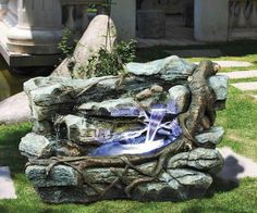 Guaranteed Lowest Prices On Design Toscano Item - Design Toscano Staggered Rock Canyon Cascading Garden Fountain. The impressive Staggered Rock Canyon garden fountain is sure to be the crowning statement in your garden or on your patio. Kew Gardens, Outdoor Gardens, Indoor Outdoor, Outdoor Decor, Outdoor Living, Hanging Gardens, Outdoor Furniture, Rock Fountain, Waterfall Fountain