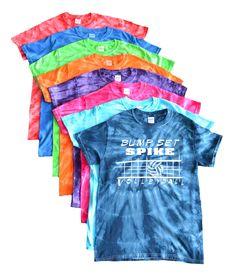 """Volleyball Tie Dye T-Shirt- """"Bump Set Spike"""" Logo"""