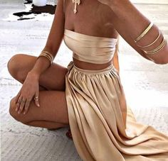 Outfit ideen – Dresses Two Piece Strapless Split Side Long Prom Dresses 1581 Dresses Elegant, Sexy Dresses, Fashion Dresses, Formal Dresses, Long Dresses, Sparkly Dresses, Elegant Clothing, Summer Dresses, Simple Dresses