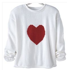 Chenille Heart Sweater: Indulge your passion for style and comfort. Our Sweater is fashioned in a medium-weight yarn and features a plush, knitted-in chenille heart. Casually styled with a rolled neck, cuffs, and hem. 97% cotton.