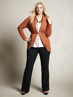 Plus size in straight black trousers and belted cardigan – work / office look ( … Plus size in straight black trousers and belted cardigan – work / office look ( sorry for the bad resolution, but liked the look and couldn't find a better image) Curvy Girl Fashion, Work Fashion, Plus Size Fashion, Womens Fashion, Fashion 101, Office Fashion, Petite Fashion, Fashion Ideas, Look Plus Size