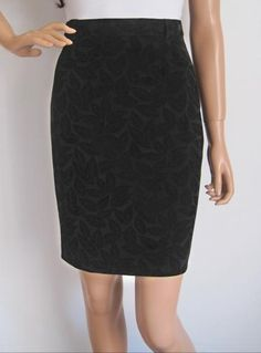 Vintage 1980s Black Velvet Leaf Print Pencil Skirt available to buy online at Virtual Vintage Clothing £15