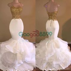 Sexy African White And Gold Prom Dresses Mermaid 2017 Spaghetti Strap Appliques Lace Ruffles Organza Backless Long Evening Party Dress Debs Prom Dresses Designer Prom Dresses From Gaogao8899, $139.7| Dhgate.Com
