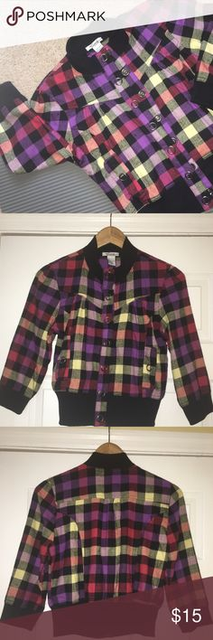 TIMING Plaid Crop Jacket with Buttons Size M Plaid (purple, burgundy, yellow, black, and red) button down jacket. Its a crop top jacket with 3/4 sleeves. Little pockets on the side (mainly for decoration). Only worn once and in like new condition. Please review all photos and ask any questions prior to purchase. Thank you for visiting my closet 😊💝 Timing Jackets & Coats