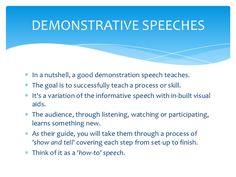 good demonstration speech topics for college students Fun or serious topics' and find homework help for other speech questions at enotes of college, the topics i loved a good five minute speech topic would.