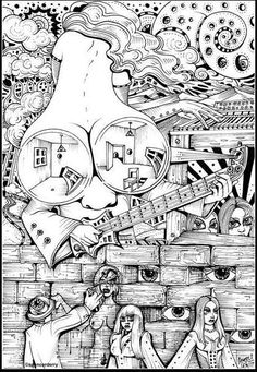 Eye Can Do Tricks • Hand drawn unique felt pen surreal original art illustration drawing by UK artist Spencer Derry. #surrealart #buyartwork