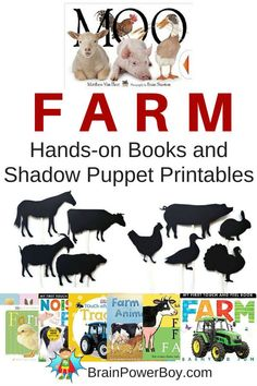 Farms! Wonderful list of hands-on farm books that get kids interacting with books. Plus a delightful group of farm animal shadow puppets--free printables!