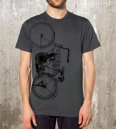 "We'd be lying if we didn't admit to daydreaming about joining a bike gang from time to time. A road hog is a capital ""c"" commitment, but this vintage-inspired tee is a stylish baby step with a turn-of-the-century motorcycle zooming up the side."