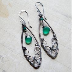Sumitra Earrings - Green Onyx and Sterling Silver - Inspired by India