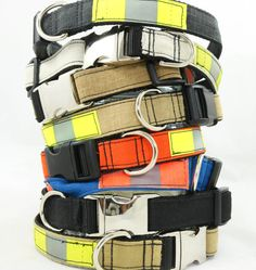 Outfit your dog with this hand-crafted recycled dog collar made from black firefighter turnout gear. Each collar is unique and carries with it a story of bravery and sacrifice. Let your dog wear this collar with pride! 1 wide adjustable collar.