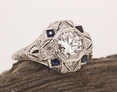 Antique Engagement Ring Art Deco Ring Blue Sapphire Ring Diamond Platinum Ring Edwardian Ring Estate Ring Vintage Wedding Ring Size 7.5