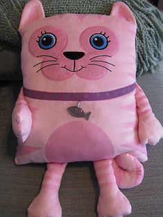 "New XL 21"" Whimsical Pink Kitty Cat Pillow Buddy Soft Pet Perfect Gift 